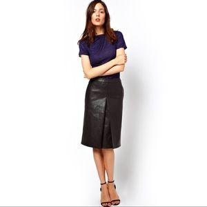 ASOS Faux Leather Midi Skirt NWOT